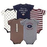 Hudson Baby Unisex Cotton Bodysuits, Football, 0-3 Months