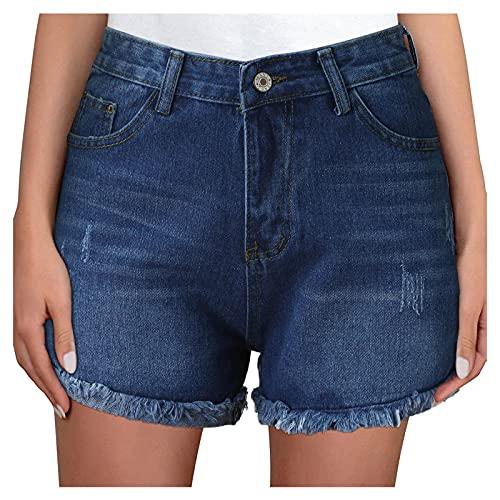 YANFANG Pantalones Cortos De Mezclilla Casuales Medio para Mujer,Pantalones Deshilachados Mujer Rasgados con Bolsillos,Pantalon Harem Cintura Alta Patrones Yoga Pants Verano Playa,3-Azul,XXL