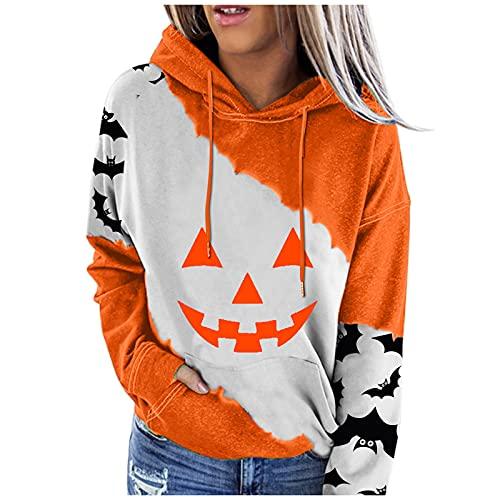 Alueeu Mujer Hoodie Caliente y Esponjoso Halloween Chaqueta Manga Larga Suéter Abrigo Jersey Otoño-Invierno Sudadera con Capucha Deportivos Pullover Tops