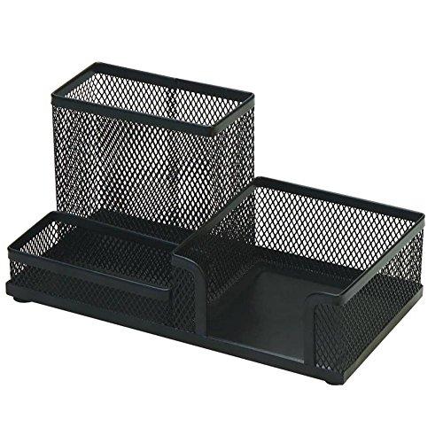 ForYOURS Organizador de escritorio, bandeja para bolígrafos de metal, multifuncional, caja de almacenamiento con 3 compartimentos, recipiente para el hogar y la oficina, 20 x 10 x 10 cm