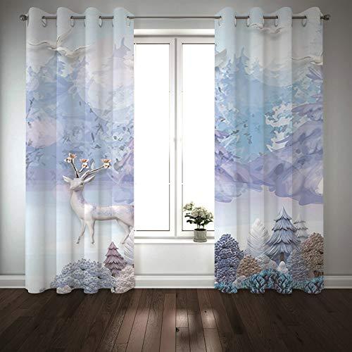 Kihomedy Cortinas de aislamiento térmico, ciervos, pájaros, montañas, color morado claro, ventana para sala de estar/cuarto de bebé, 2014 x 250 cm, 2 paneles