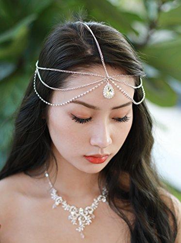 Gracewedding Chaîne de tête argentée avec strass pour mariage et festival, accessoire de cheveux bohème