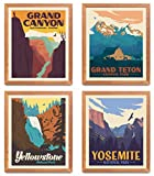 National Park Posters & Prints - Set Of 4 By Herzii Prints   Vintage National Parks Poster   Nature Wall Art Decor   Mountain Travel Posters (11'x14' UNFRAMED)