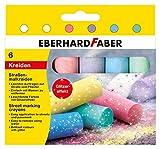 Eberhard Faber 526504 - Pastelli Street in 6 colori brillanti con effetto glitter, in astuccio di cartone, per dipingere in modo colorato su asfalto, strade e marciapiedi