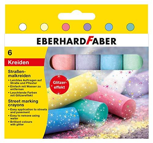Eberhard Faber 526504 - Straßenmalkreiden in 6 leuchtenden Farben mit Glitzereffekt, im Kartonetui, für bunten Malspaß auf Asphalt, Straßen und Gehwegen