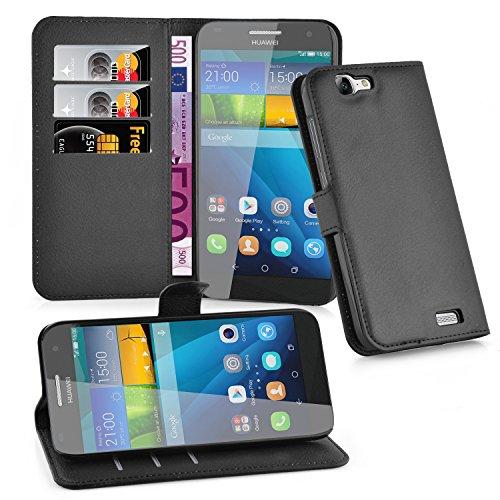 Cadorabo Hülle für Huawei G7 in Phantom SCHWARZ - Handyhülle mit Magnetverschluss, Standfunktion & Kartenfach - Hülle Cover Schutzhülle Etui Tasche Book Klapp Style