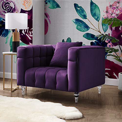 Inspired Home Velvet Accent Chair - Biscuit Club Chair Tufted Chair for Room with Lucite Legs, Angelo Purple