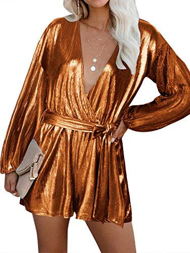 YOINS Vestido Fiesta Mujer Largo Mono Vestido Lentejuelas Mujer Manga Larga Casual Cuello En V Camisa Brillante Jumpsuit Elegante Amarillo XXL