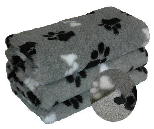 Camtiac Petbed Hundedecke mit Pfoten ca. 75 x 100 cm dreifarbig grau Pfote schwarz und Weiss