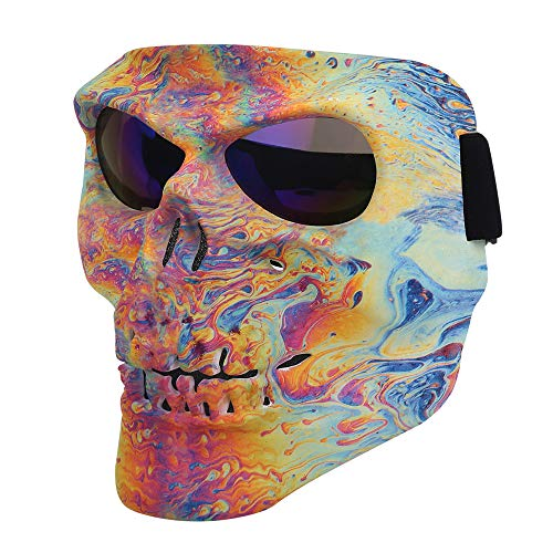 Flantor Motorcycle Goggle Skull Face Mask for Airsoft Paintball Motor Racing Polarized Lens