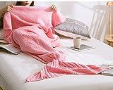 KiKi Monkey Multi-Tamaño de punto hecho a mano de cola de la sirena manta del sofá de sacos de dormir todas las estaciones para Niños Adultos (L, pink)