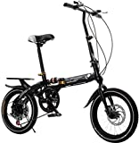 16 bicicletas plegables con marco de aluminio ligero, 6 velocidades, bicicleta de ciudad plegable, bicicleta urbana, con soporte trasero, plegado en 10 segundos