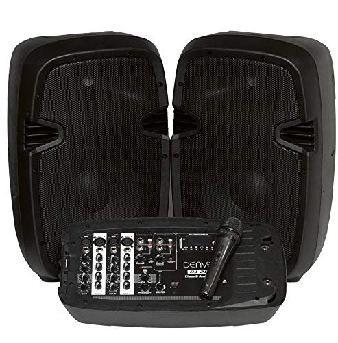 DENVER DJ-200 Sistema de DJ con mezclador, amplificador, 2 a