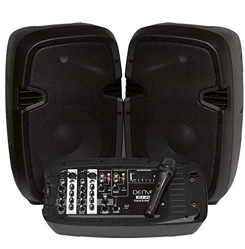 Denver DJ-200 DJ-set mixer met 2x 100W luidsprekers, zwart