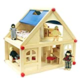 FidgetGear Puppenhaus aus Holz mit Puppenfamilie und Möbeln auf zwei Etagen - Waldorf Stil as...