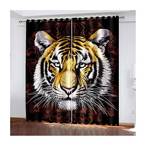 Daesar Lot Rideaux Salon, Rideau Occultant Noir Marron Rideau Chambre Tigre Rideaux Occultant Oeillet 132x244CM