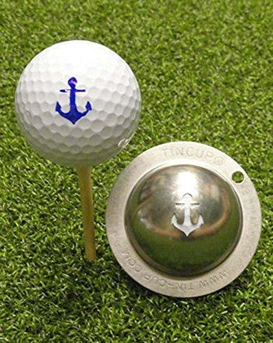 Tin Cup, Golfball-Schablone aus Edelstahl mit dem Motiv Anker