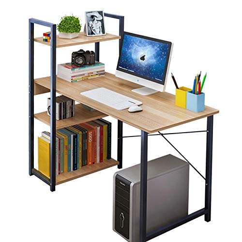 Anmas Power Computer Desk with 4 Shelves, PC Laptop Table Home Office Workstation, Industrial Table, Home Office Desk with Metal and Wood Bookshelf (C-Yellow Wood)