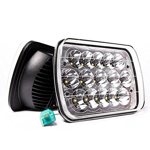 MICTUNING 2Pcs 5x7 7x6 Led Headlights Rectangular Hi Lo Led Sealed Beam H6054 6053 6052 5054 Headlamp Replacement for Jeep Wrangler YJ XJ MJ Chevy