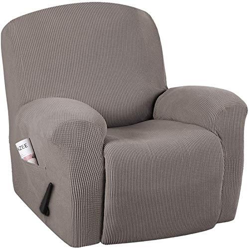XDKS - Set di 4 coprisedia reclinabile, elasticizzati, per sedie reclinabili, con tasche laterali, colore: tortora