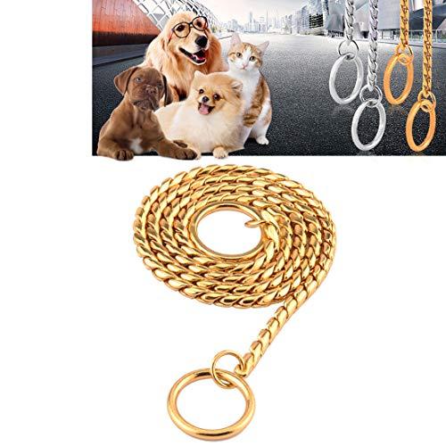 Haustier Edelstahl P Ketten mittelgroße und großer Hund Haustier Hundeausbildung Hundekette Zugseil Nahtlose Schweiß Nicht-Haarmetallkette, Länge: 65cm (Color : Gold)