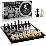 Chess Armory Travel Chess Set 9.5' x 9.5'- Plastic Chess Set with Folding Magnetic Chess Board, Staunton Chess Pieces, & Storage Box - Portable Chess Set Board Game