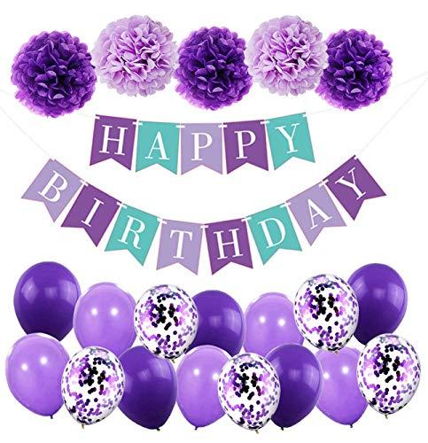 MAKFORT Geburtstagsdeko Mädchen Violett Happy Birthday Girlande mit Pompoms und Luftballons Violett Konfetti Luftballons für Geburtstag Partydeko Mädchen und Junge