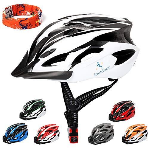 ioutdoor Erwachsene Fahrradhelm CE EN1078, EPS-Körper + PC-Schale, Robust und Ultraleicht, mit Abnehmbarem Visier und Polsterung, mit freiem Stirnband, Verstellbar Radhelm(56-64cm) (Schwarz Weiß)