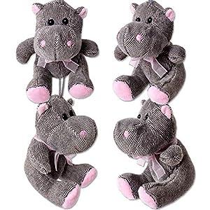 TE-Trend 4 Pieza Hipopótamo Felpa Animal de Peluche Hipopótamo Hippo Animal Blandito Colgante Lazo 100mm Gris