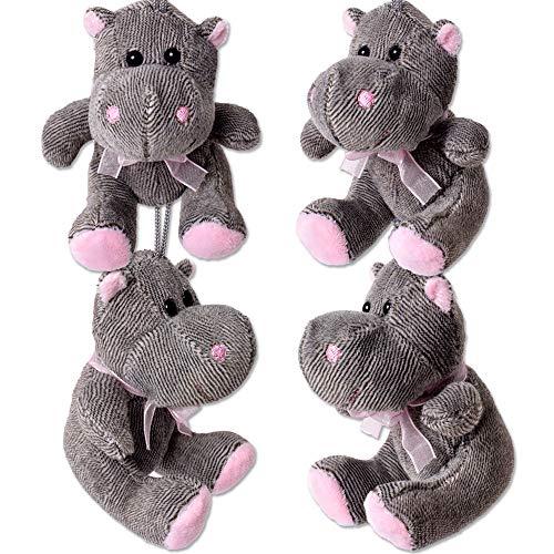 TE-Trend 4 Stück Nilpferd Plüsch Kuscheltier Plüschtier Flusspferd Hippo Stofftier Anhänger Schleife 100mm Grau