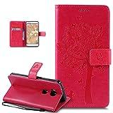 Kompatibel mit Huawei Honor 5X Hülle Schutzhülle,Prägung Katze Schmetterlings Blumen PU Lederhülle Flip Hülle Handyhülle Ständer Tasche Wallet Hülle Schutzhülle für Huawei Honor 5X,Hot Pink
