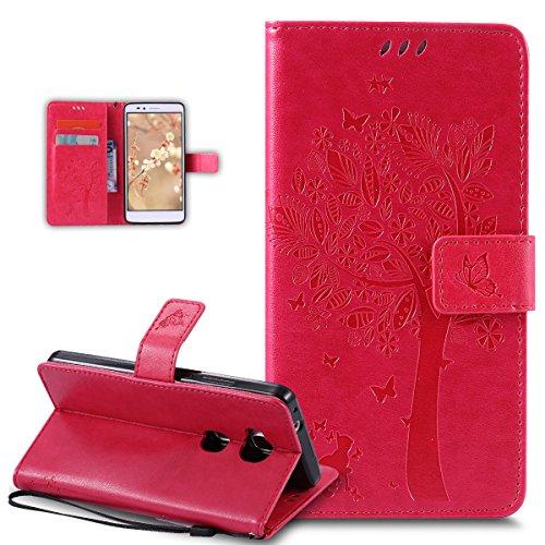 Coque Huawei Honor 5X,Etui Huawei Honor 5X,Gaufrage Embosser Chat papillon Fleur Floral arbre Housse en Cuir PU Etui Housse en Cuir Portefeuille Flip Case Etui Coque pour Huawei Honor 5X,Or Rose