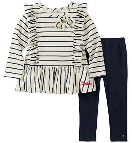 Nautica Juego de 2 Mallas túnica para bebé niña, Vanila Stripes/Azul Marino, 6-9 Meses