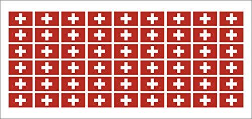 Mini Aufkleber Set - Pack glatt - 20x12mm - Sticker - Swiss-Schweiz - Flagge-Banner-Standarte fürs Auto, Büro, zu Hause und die Schule - 54 Stück - Modellbau Auto