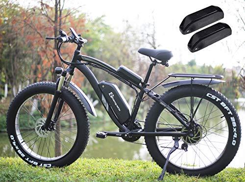 Shengmilo MX02 26-Zoll-Fettreifen-Elektrofahrrad, 48-V-1000-W-Motor Schnee-Elektrofahrrad, Shimano 21-Gang-Mountainbike-Pedalassistent, hydraulische Scheibenbremse mit Lithiumbatterie (Grün)