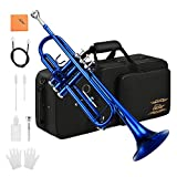 Eastar Standard Bb Blue Trumpet Set for Student Beginner Brass Instrument with Hard Case, Gloves, 7 C Mouthpiece, Valve Oil and Trumpet Cleaning Kit, ETR-380BU (Blue)