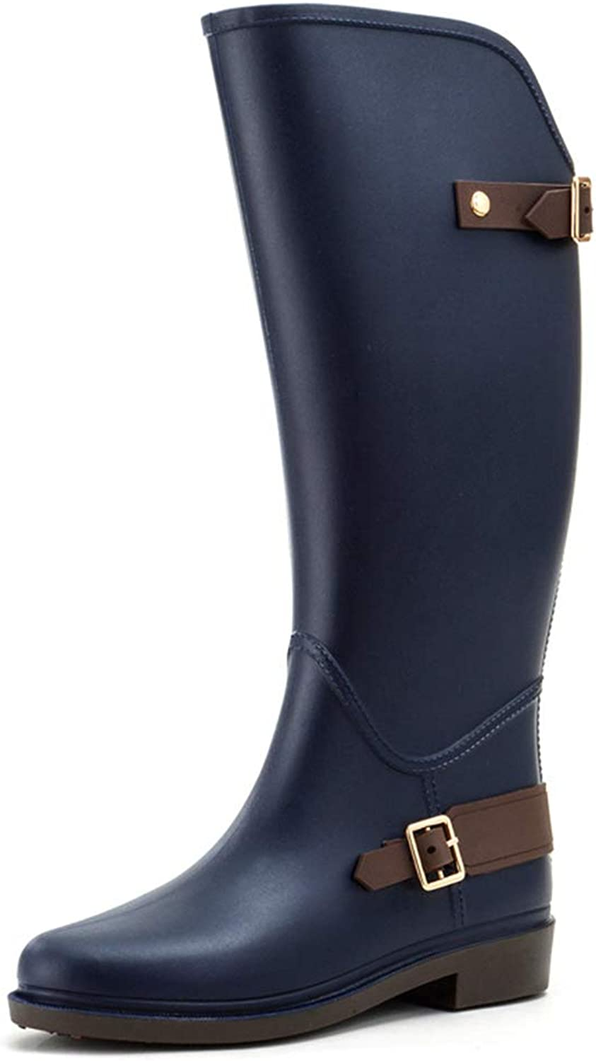 Hoxekle Women Knee-high Buckle PVC Rain Boots Non-Slip Tall Buckle Waterproof Water shoes Woman Large Shaft