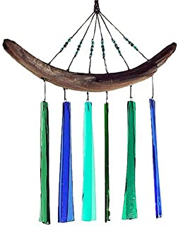 American Made Fused Glass Wind Chime - Blues & Greens