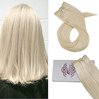 Moresoo 24 Inch Brazilan Human Hair Weave 100g Per Bundle Platinum Blonde #60 Hair Extensions Human Hair Straight Double Wefted Remy Brazilian Hair Full Head