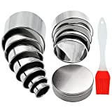 13Pcs Round Cookie Cutter Pastry Cutters Round Biscuit Cutters Ring Scone Cutter with Silicone Pastry Brush Storage Tin Stainless Steel Circle Cookie Cutter for Pastry Donut Fondant Baking DIY Cake