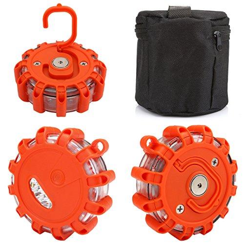 ACBungji Gyrophare Orange LED Voiture Auto Route Clignotant Avertisseur Lumineux Signal Urgence Lumière Avertissement Base Magnétique - Lot de 3 avec Sac de Rangement - Imperméable IP65