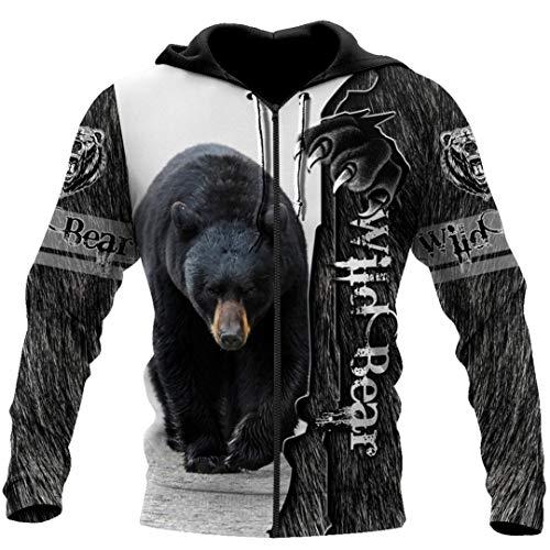 Wild Bear 3D Sudadera con Estampado Completo Unisex Harajuku Casual Zip Chaquetas Zip Hoodie S