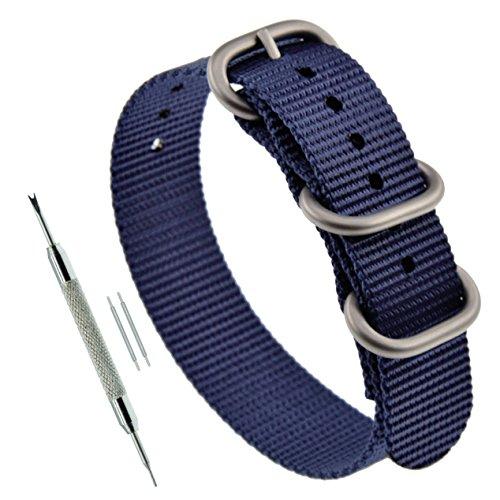 19mm Azul Marino Azul de la Correa Zulu 3 Anillo de reemplazo Correa de Reloj de Nylon Grueso para los Hombres