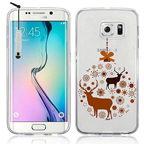 VComp-Shop - Cover trasparente in silicone TPU per Samsung Galaxy S6 Edge SM-G925F + mini pennino capacitivo, motivo: renna