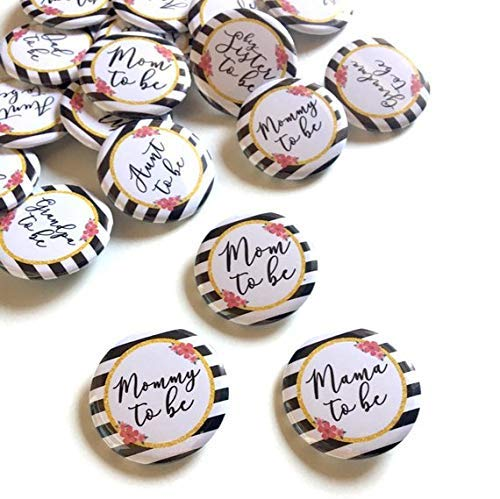 Kate spade inspired mom dad aunt uncle grandma grandpa to be pin back badge baby shower party favors props gift
