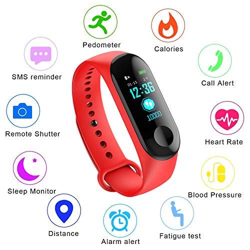 Fitness Trackers,Farbdisplay Pulsmesser IP67 Wasserdicht Intelligentes Armband Schrittzähler Kalorienzähler Sport Armband Schlafüberwachung Kinder, Männer Frauen Smartwatch