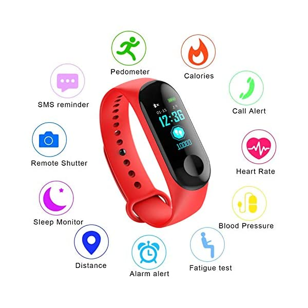 Fitness Trackers,Pantalla de Color Impermeable Monitor de Ritmo cardíaco Pulsera Inteligente Podómetro Contador de… 1