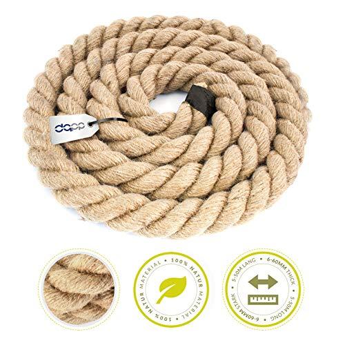 DQ-PP CUERDA DE YUTE | Longitud 5m | Grosor 30mm | Cuerda de Fibra 100% Natural Marrón | Cuerdas decorativa | Decoracion de bricolaje | Macramé | Accesorios de Jardin