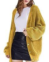 QUALFORT Women's Mustard Cardigan Sweater 100% Cotton Button-Down Long Sleeve Oversized Knit Cardigans Mustard Medium