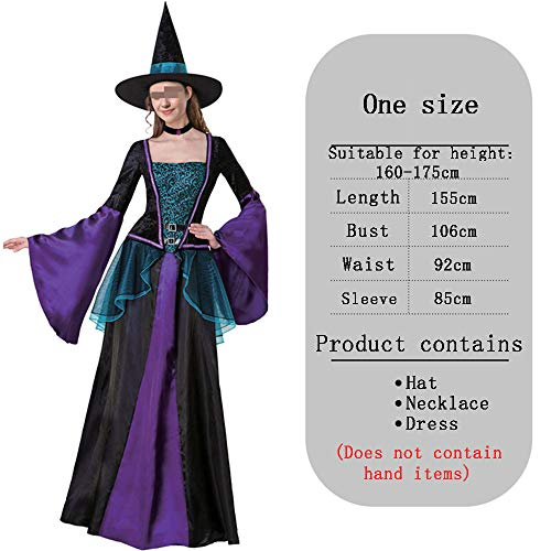 Dames Gotische Heks Halloween Lange Kostuum Blauw Paars Zwart Kleur Mozaïek Jurk Cosplay Maskerade Kostuum Met Heks Hoed